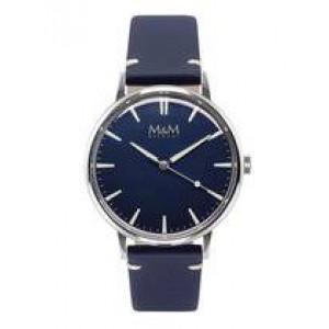 """stalen M&M horloge """" Retro """" met sleepsecondewijzer en luminiserende wijzers en indexen, blauwe wijzerplaat en lederen band - 210236"""