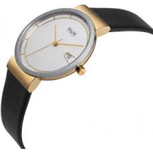 stalen M&M horloge ; ronde kast met goudkleurige aanzet + zilverkleurige wijzerplaat met goudkleurige index en kroon+ lederen band - 210234