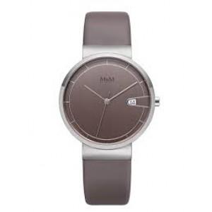 stalen M&M horloge ; ronde kast en taupekleurige wijzerplaat + lederen band model - 210231