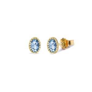 """14 krt witgouden Miss Spring kleursteen oorstekers """" Ma Petite """" waarin ovaal en gefacetteerd geslepen lichtblauwe topazen zijn gezet - 211579"""