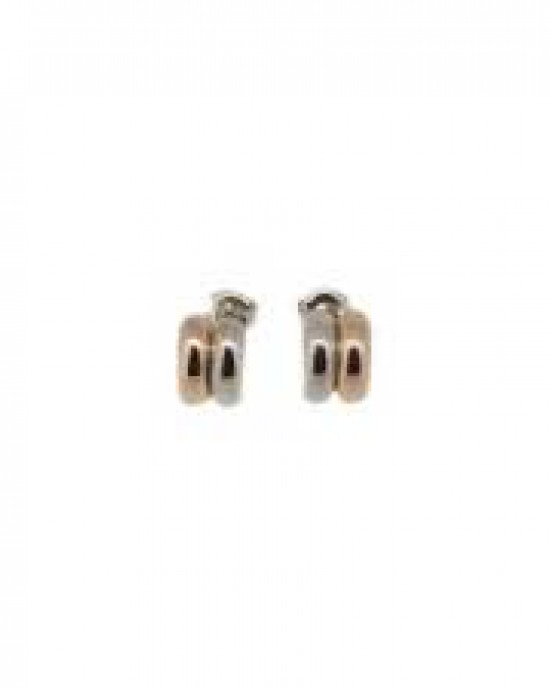 14 krt bicolor gouden Monzario fantasie oorstekers, rose- en witgoud, model O1103 RW - 210619