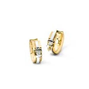 14 krt bicolor gouden R&C klapcreolen model 64 waarin 2 x briljant geslepen diamant elk 0.03 ct SI/R - 210545