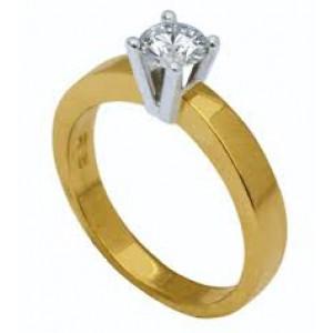 14 krt bicolor gouden Eclat solitairring R20 voorzien van een 0.07 ct briljant geslepen diamant VVS/TW - 209473
