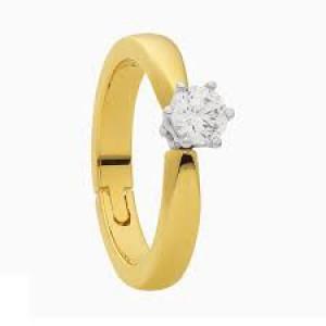 """14 krt bicolor gouden """" reuma """" solitairring voorzien van een 0.10 ct briljant geslepen diamant TW/VS - 210246"""