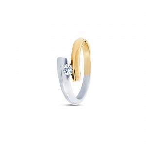 14 krt bicolor gouden R&C groeibriljant ring model 3 Large waarin een 0.18 ct briljant geslepen diamant - 213039