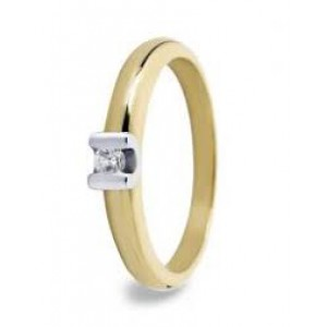 14 krt. gouden bi-colour R&C groeibriljant ring model 16 voorzien van een 0,03 crt briljant Si/R - 23890