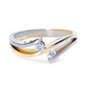 14 krt bicolor gouden R&C ring model 37 met 2 x een 0.04 ct briljant geslepen diamant Si/R - 212732