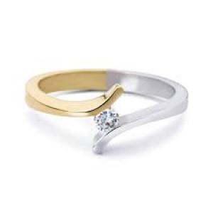 R & C ring model 39 in 14 krt bi-colour goud en voorzien van een 0,07 ct briljant geslepen diamant Si/R - 304652