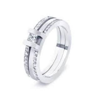 14 krt rose-witgouden R&C ring model 80 Noblesse UF0818 middensteen 0.10 crt en 36 x 0.005 - 36790