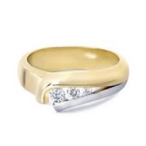 "14 krt bicolor gouden R & C ring model ""Laure"" + een 0.03 crt briljant Si/River - 203675"