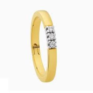 """14 karaats geelgouden alliance """" Reuma """" ring ( ring met scharnier )  met witgouden zettingen waarin 3 briljant geslpen diamanten van elk 0,05 crt. VS/TW - 208658"""
