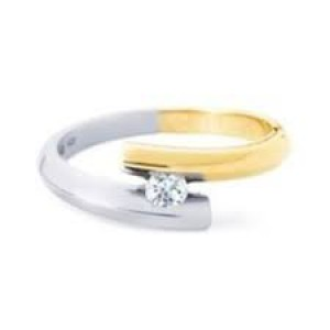 14 krt bicolor gouden R & C fantasiegroeibriljant ring model 3 met een briljant geslepen diamant 0.08 ct Si/R - 210542