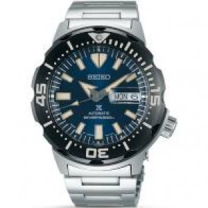 Seiko Automatic Diver Prospex horloge, stalen kast + band, blauwe wijzerplaat + donkere lunette, 200m WD - 211913
