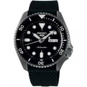 Seiko 5 Sports automatic stalen kast donker gecoat + zwart siliconen band, zwarte wijzerplaat, 100m WD - 211048