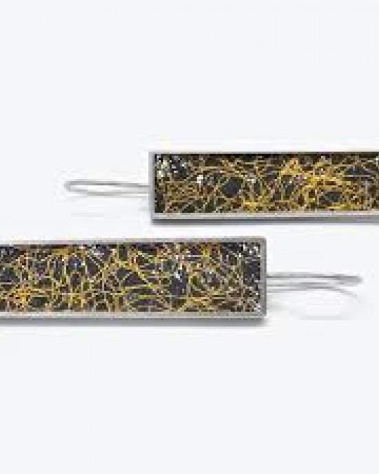 """Gill Galloway oorstekers langwerpig met """" double frame """" geheel geoxydeerd zilver 999/000 en fijn goud 999/000 """" gestrooid """" lijnenspel - 210212"""