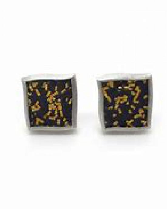 Gill Galloway oorstekers met confetti motief van fijnzilver + fijngoud 999/000 en 18 karaats goud - 301755