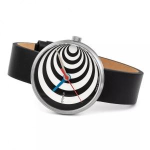 """Walter Gropius Bauhaus horloge """" Excentric """" stalen kast , wit-zwart wijzerplaat + lederen band - 210083"""