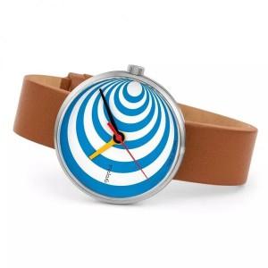 """Walter Gropius Bauhaus horloge """" Excentric """" stalen kast , wit-blauw wijzerplaat + lederen band - 210084"""