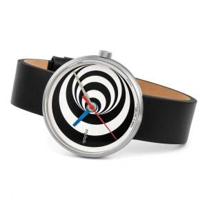 """Walter Gropius Bauhaus horloge """" Excentric """" stalen kast , wit-zwart wijzerplaat + lederen band - 210085"""
