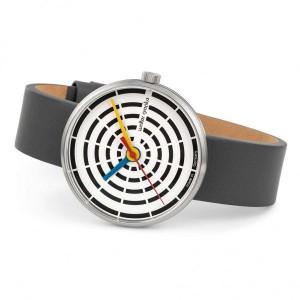 """Walter Gropius Bauhaus horloge """" Space Loops """" stalen kast lichte wijzerplaat + lederen band - 210080"""