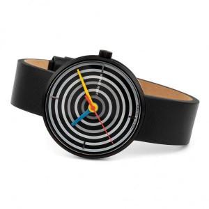 """Walter Gropius Bauhaus horloge """" Space Loops """" donkere kast en plaat + lederen band - 210079"""