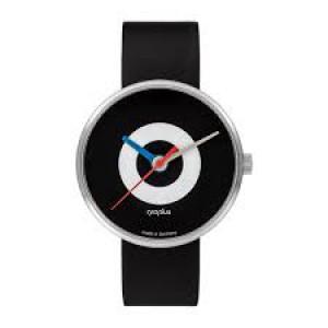 """Walter Gropius Bauhaus horloge """" J.Albers """" stalen kast , zwart-wit-zwart wijzerplaat + lederen band - 210088"""