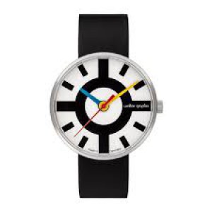 """Walter Gropius Bauhaus horloge """" Crossway """" stalen kast lichte wijzerplaat + lederen band - 210081"""