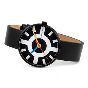 """Walter Gropius Bauhaus horloge """" Crossway """" stalen kast zwart gecoat , donkere wijzerplaat + lederen band - 210082"""