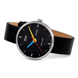 "Walter Gropius Bauhaus horloge "" Simplex "" stalen kast , zwarte wijzerplaat, dag+ datum + stalen milanaise band - 210093"