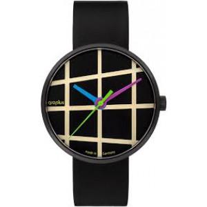 """Walter Gropius Bauhaus horloge """" Window de luxe """" stalen kast Limited edition zwart gecoat 032/100 , donkere wijzerplaat met lichte strepen en 3 gekleurde wijzers - 211128"""