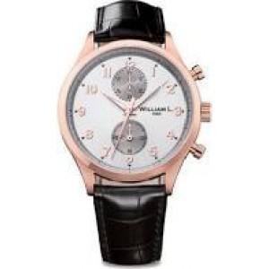 """William L. horloge """" Vintage small Chrono """" stalen kast rosé verguld, lederen band, model WLOC02GOCM - 207163"""