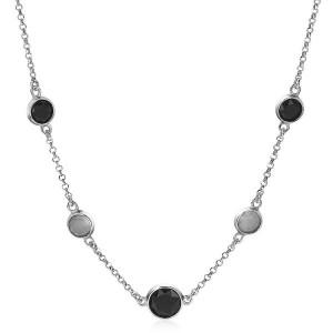 Zilveren Zinzi fantasiecollier met zwarte en grijze kleurstenen , 45 cm , ZIC1937 - 211843