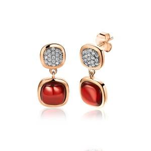 zilveren rosé verguld Zinzi fantasie oorstekers met rode kussenvormig zirconia en in kleinste schakel zirconia pavé gezet ; ZIO1717 - 209609
