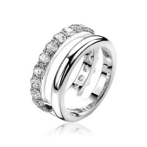 Zilveren Zinzi fantasie ring Two-ring : 1 x glad en 1 met zirconia , ZIR1296-56 - 206001