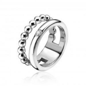 Zilveren Zinzi fantasie ring dubbel met 1 gladde baan en 1 baan met zirconia,ZIR1365-54 - 206021