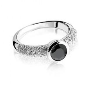 Zilveren Zinzi fantasie ring met zwarte zirkonia , ZIR840Z-56 - 206016