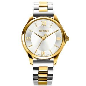 """Zinzi horloge """" Classy Mini 30 mm """" kast is  staal geelverguld met een bicolor stalen band , lichte wijzerplaat + secondewijzer - 211567"""