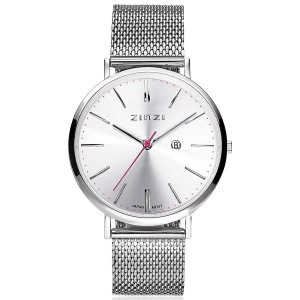 Zinzi horloge model Retro ZIW402M, stalen kast met streepindex en milanaise band - 205765