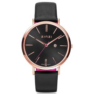 Zinzi retro horloge rosé verguld met zwarte wijzerplaat, lederen cognac band - 205634