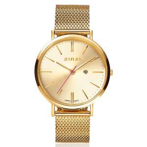 Zinzi retro horloge , kast en band geel verguld , gouden wijzerplaat ; ZIW410m - 206930