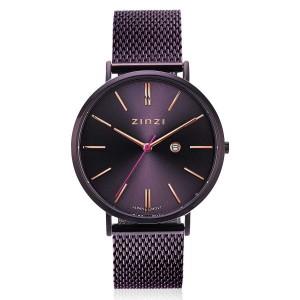 Zinzi Roman horloge kast en band paars verguld, paarse wijzerplaat en datumfunctie ;  ZIW416M - 209683