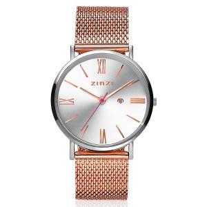 Zinzi  Retro Roman horloge zilverkleurige wijzerplaat, rosé index, rosédoublé band - 207055