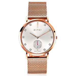 Zinzi Roman horloge kast en band rosé verguld, zilverkleurige wijzerplaat met zirconia's + separate secondewijzer, meshband ZIW526M - 209684