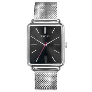 """Zinzi horloge rechthoekige stalen kast """" Large """" met donkere wijzerplaat en stalen milanaise band ; ZIW901M - 209677"""