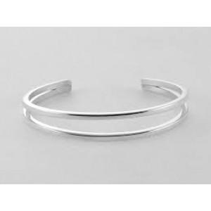 NOL handgesmede zilveren klemarmband met dubbele baan, model 78201.2 - 208988