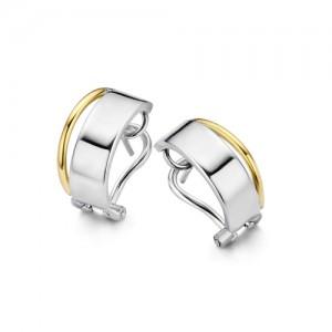 eNGi zilveren oorsieraden met één baan geelgoud - 207857