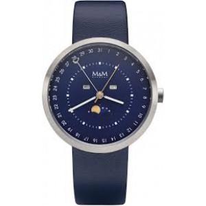 M&M leren band horloge met edelstalen ronde kast met maanfase - 209526