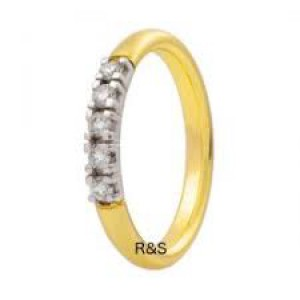 14 krt gouden Eclat alliancering waarin 5 x een 0,05 briljant geslepen diamant is gezet VS/TW - 200492