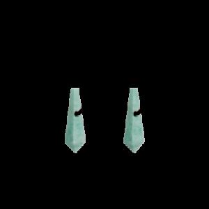 zilveren Equiv stekercreolen waaraan verwisselbare in pyramidevorm en gefacetteerd geslepen Amazoniet creoolhangers van 26 mm x 9 mm hangen - 209042