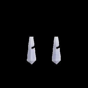 zilveren Equiv stekercreolen waaraan verwisselbare in pyramidevorm en gefacetteerd geslepen Chalcedoon creoolhangers van 26 mm x 9 mm hangen - 209041